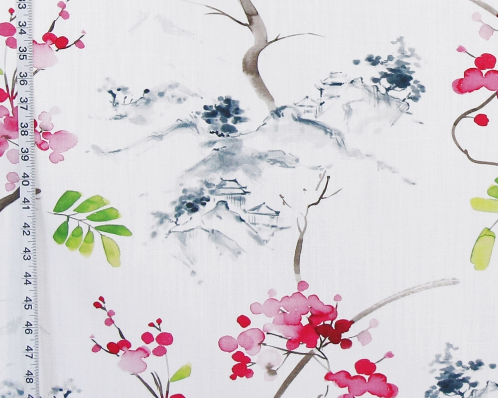 Cherry Blossom Fabric Oriental Ink Wash Haiku Watercolor
