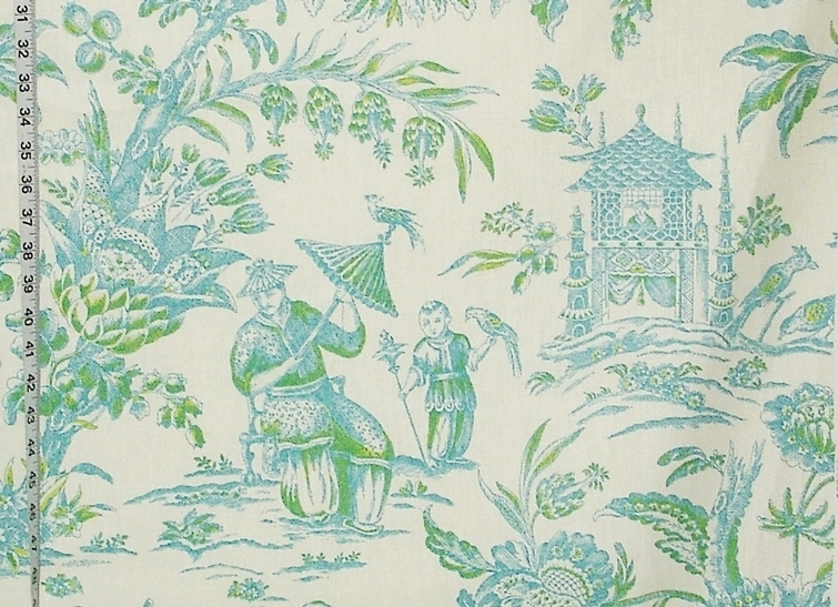 Blue Green Oriental Toile Fabric