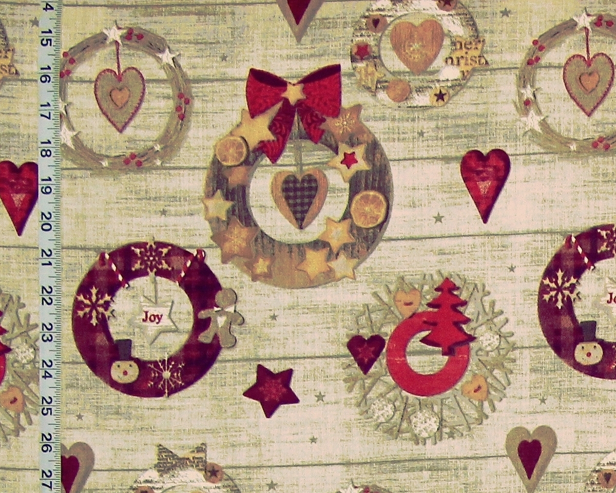 CHRISTMAS COOKIE WREATH FABRIC