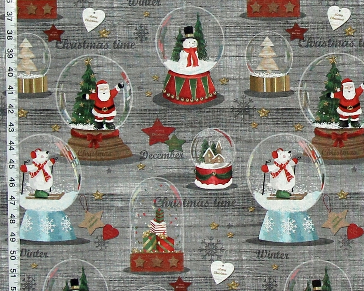 CHRISTMAS SNOW GLOBE FABRIC