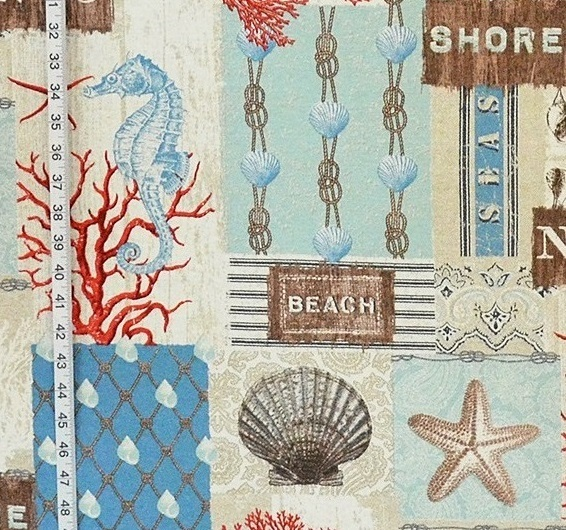 Beach Cottage Fabric Ocean Fish Seashell Seahorse From Brick House