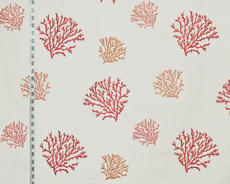 Embroidered Coral Fabric- just listed! | Brickhouse Fabrics