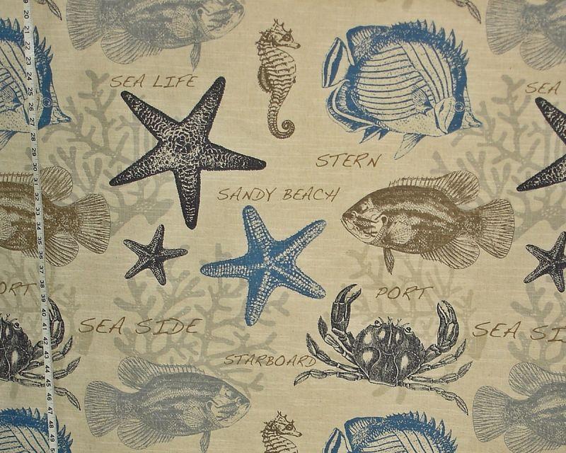 BEACH FABRIC BLUE CRAB FISH