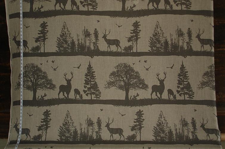 Dark Deer Silhouette Fabric
