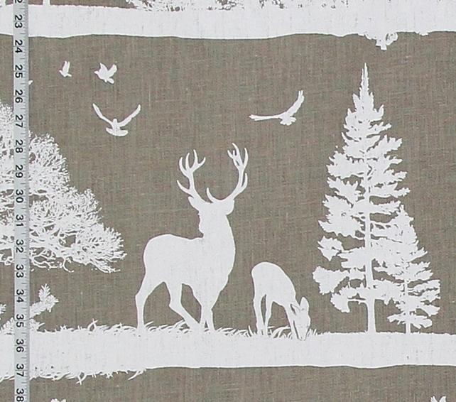 Deer Silhouette Linen Fabric