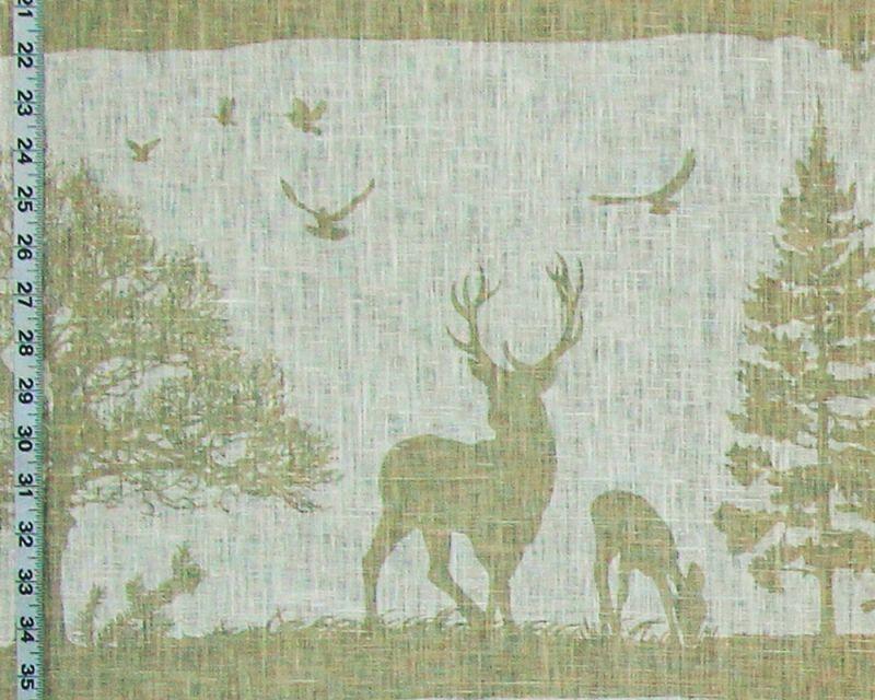 Deer Fabric on White Linen
