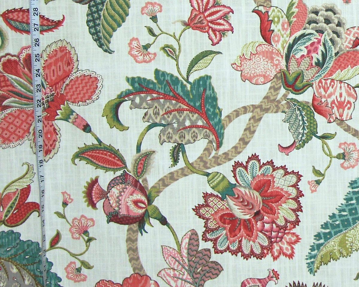 RASPBERRY TEAL INDIENNE TREE OF LIFE FABRIC