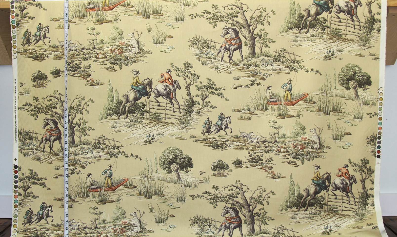 HORSE FISHING TOILE FABRIC IN TAN