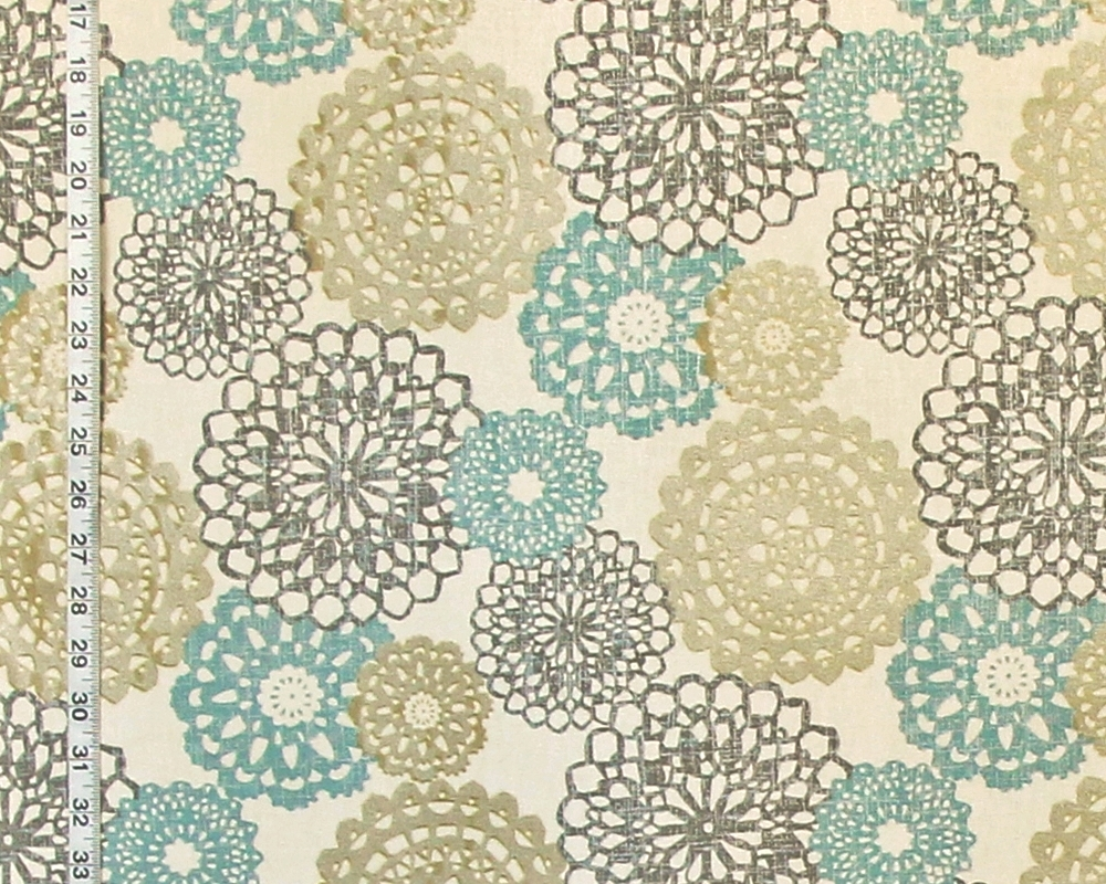 Doily fabric blue grey gold lace opt art metallic from Brick House ...