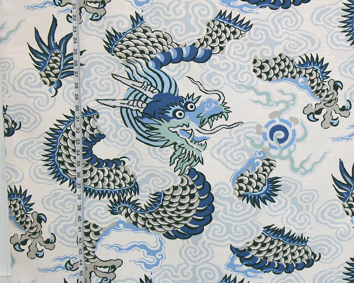 BLUE ORIENTAL DRAGON FABRIC