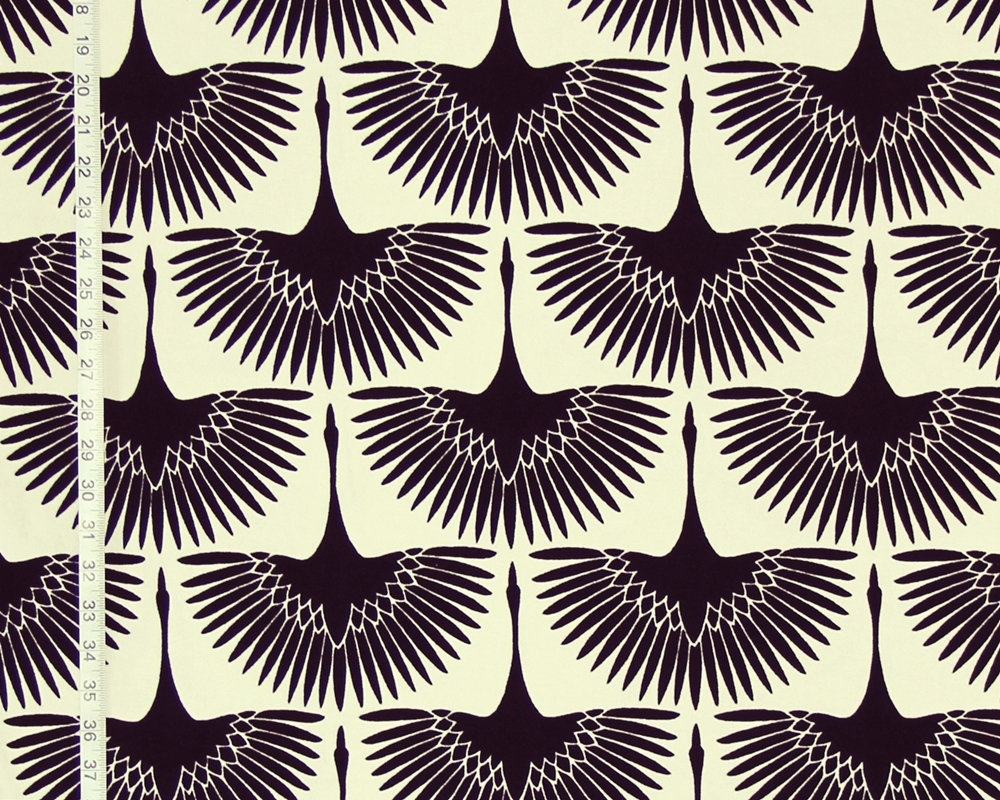 Art Deco Fabric Egyptian Bird Lotus Flocked Black White Egret Goose