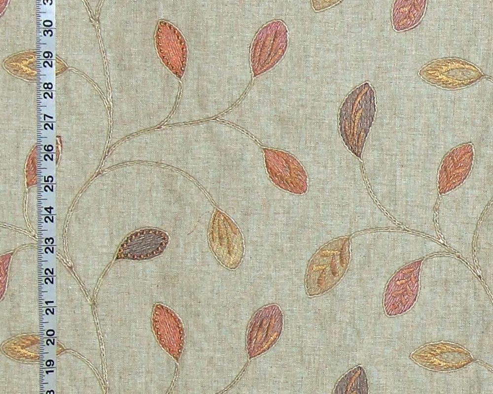 Boho embroidered leaf fabric brickhouse fabrics