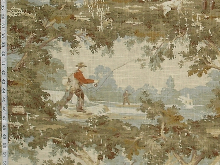 fishing toile fabric duck hunting vintage look