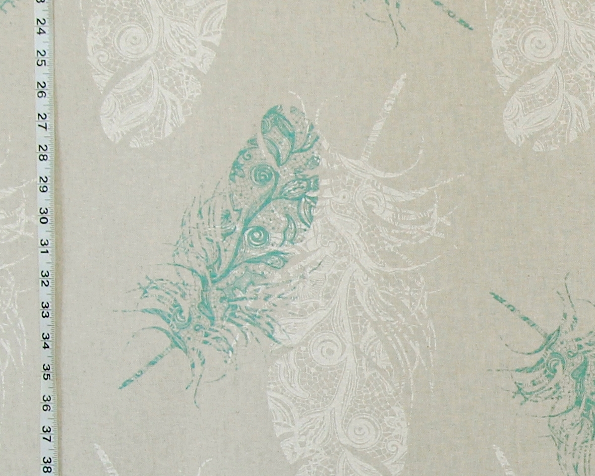 AQUA LACE FEATHER FABRIC