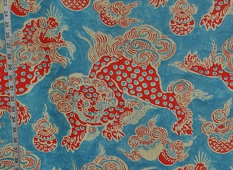 Asian Oriental dragon fabric Foo Dog lion blue orange linen from ...