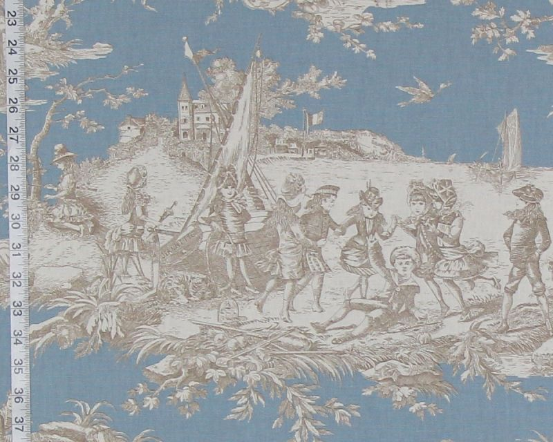 BLUE FRENCH TOILE FABRIC