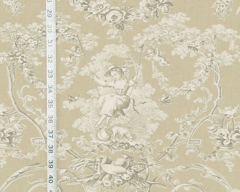 Delightful French Country Fabrics Part - 11: Brown Tan Toile Fabric French Country De Jouy Neutral