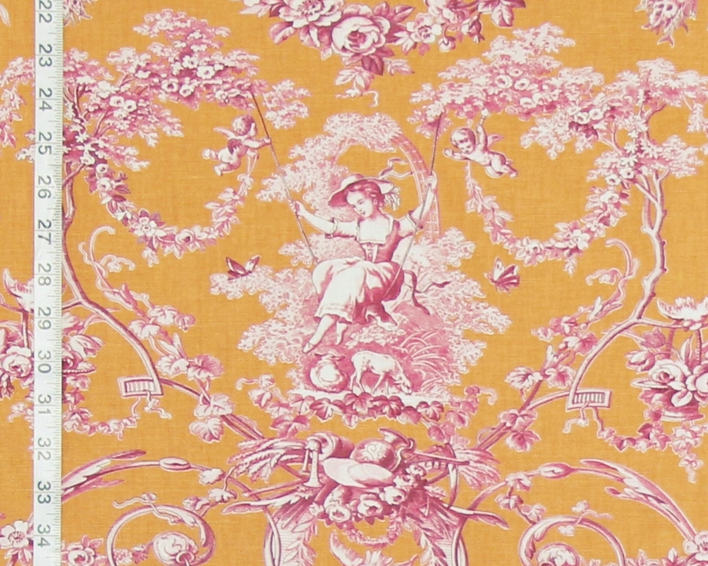 FRENCH ORANGE VIOLET PINK TOILE FABRIC