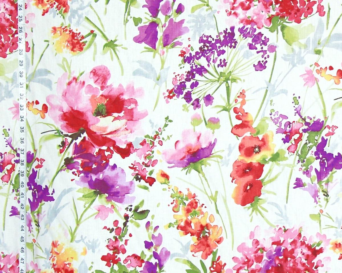 Flower garden fabric pink peony purple orange watercolor floral ...