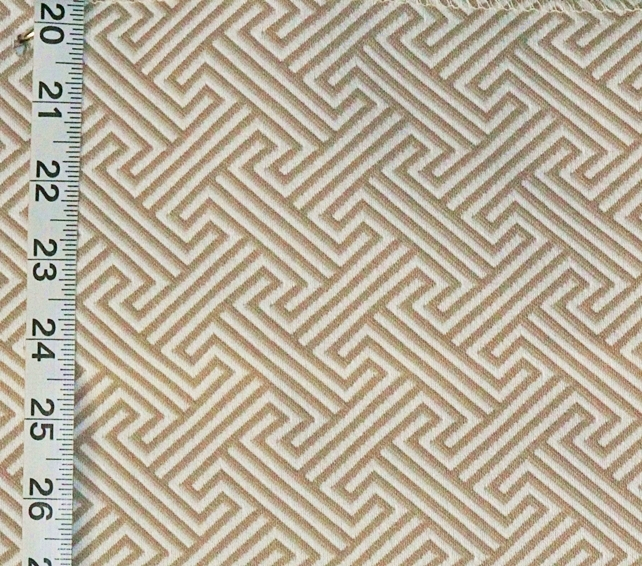 Tan Greek Key Fabric Linen Beige Modern Geometric Reversible Upholstery