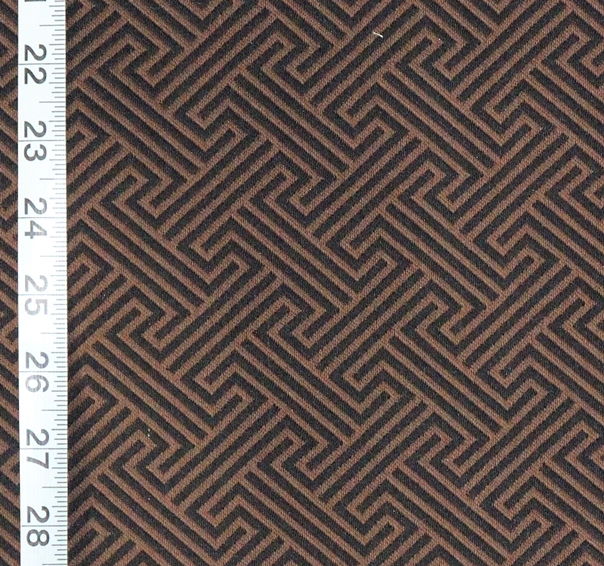 Black Brown Greek Key Fabric Modern Geometric Reversible Woven