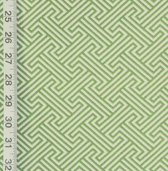 Green Greek Key Fabric Modern Geometric Reversible Upholstery From