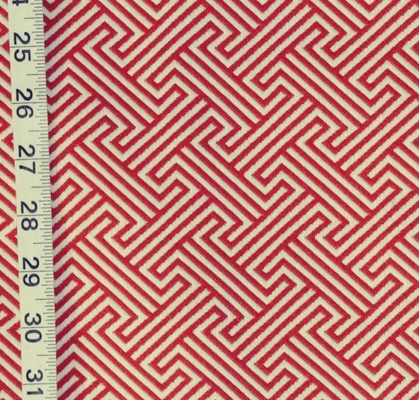 Red Greek Key Fabric Modern Geometric Reversible Upholstery From