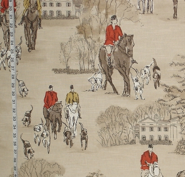 MODERN HORSE HUNT TOILE FABRIC