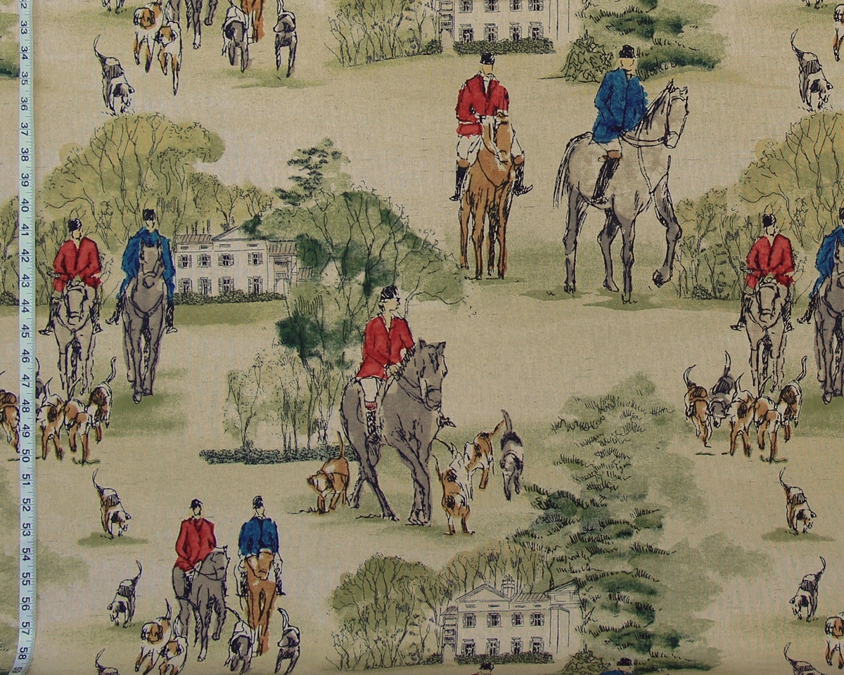 RED AND BLUE HORSE AND HOUND FABRIC
