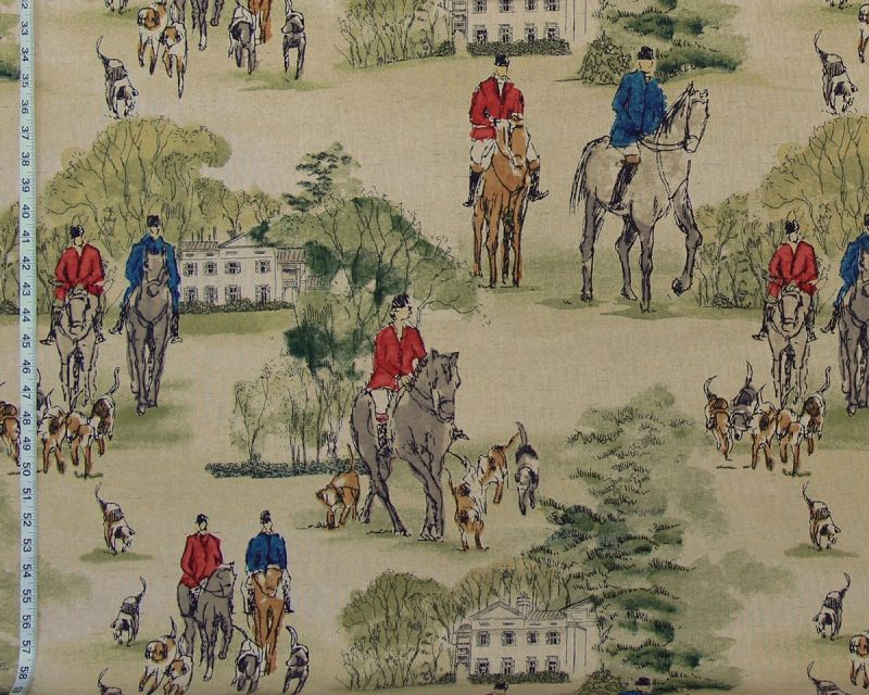 RED AND BLUE HORSE HUNT FABRIC