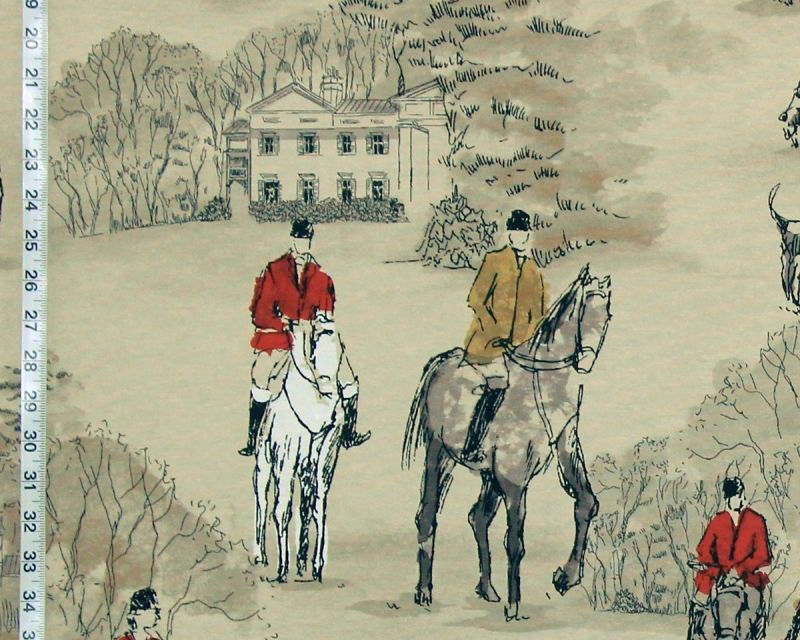 EQUESTRIAN HORSE HUNT FABRIC