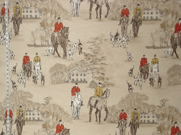 HORSE HUNT FABRIC IN RED AND GOLD