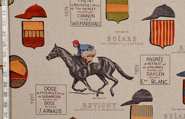 Horse Racing Fabric French Jockey Document Script From Brick House