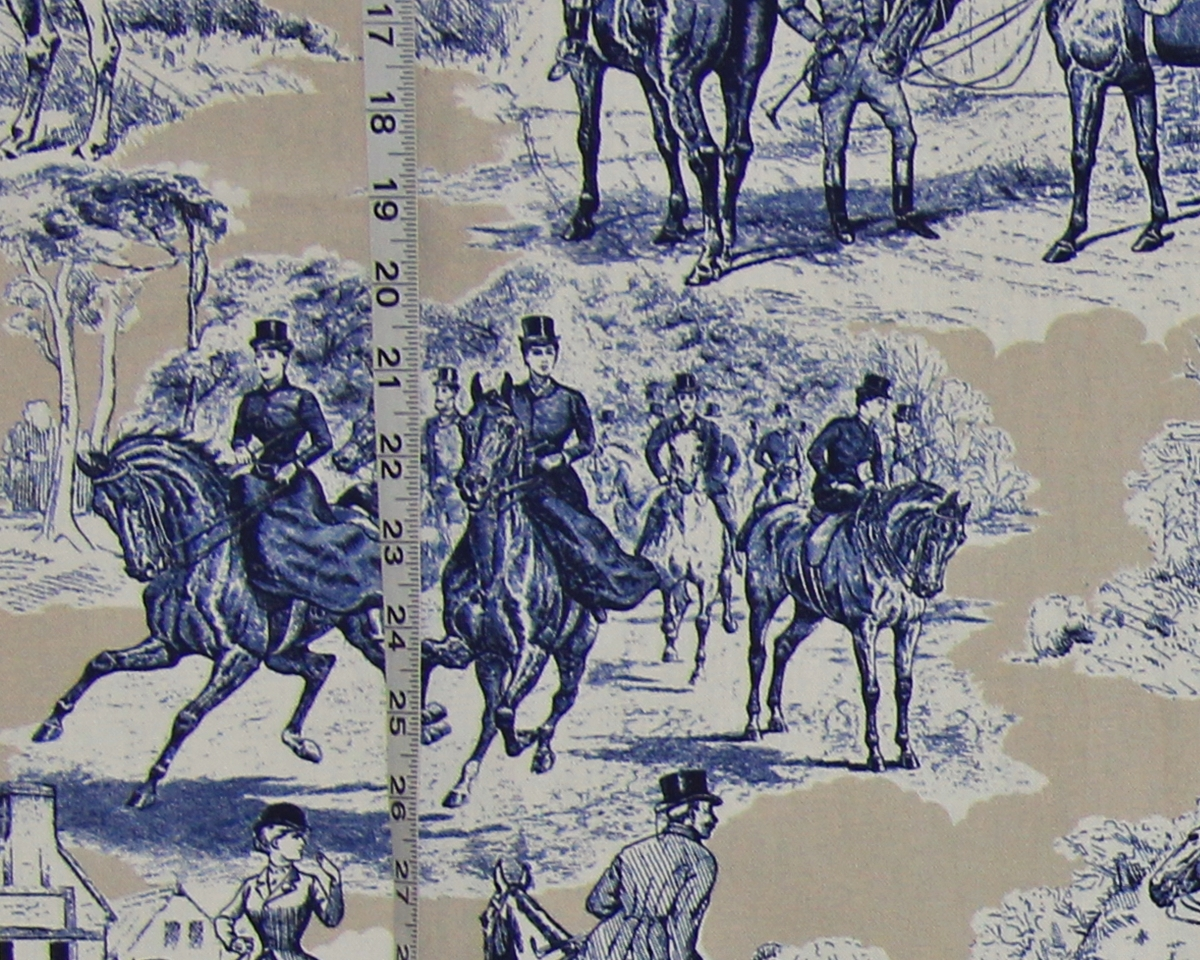 BLUE TAN TOILE HORSE FABRIC