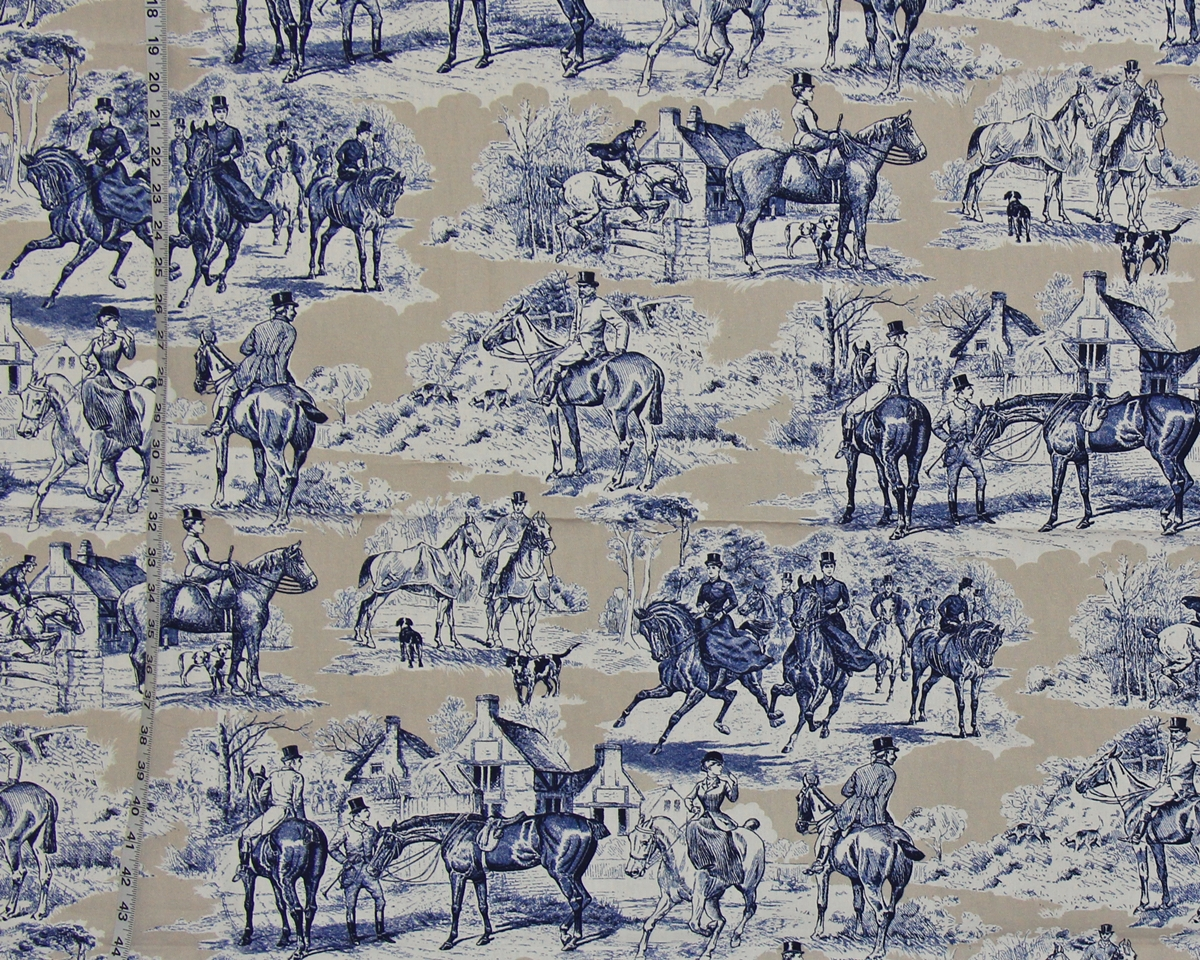 BLUE TAN VICTORIAN HORSE FABRIC