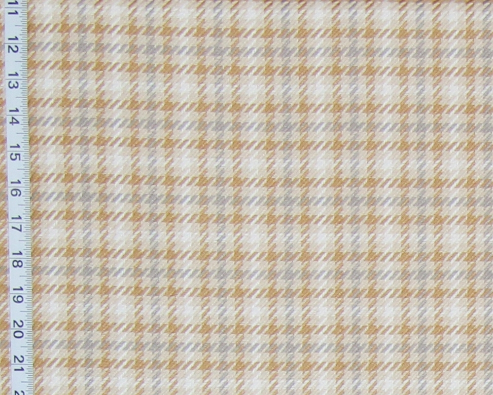 Beige Tan Grey Gold Plaid Fabric Houndstooth Check Upholstery From