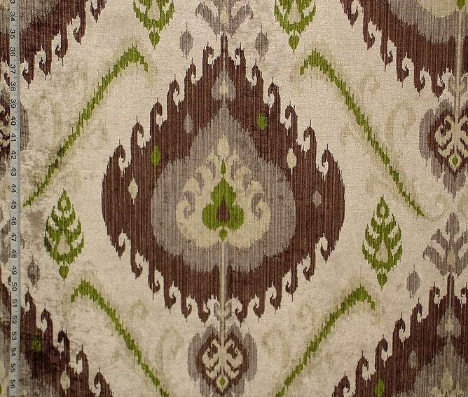 GREEN BROWN CHENILLE IKAT FABRIC