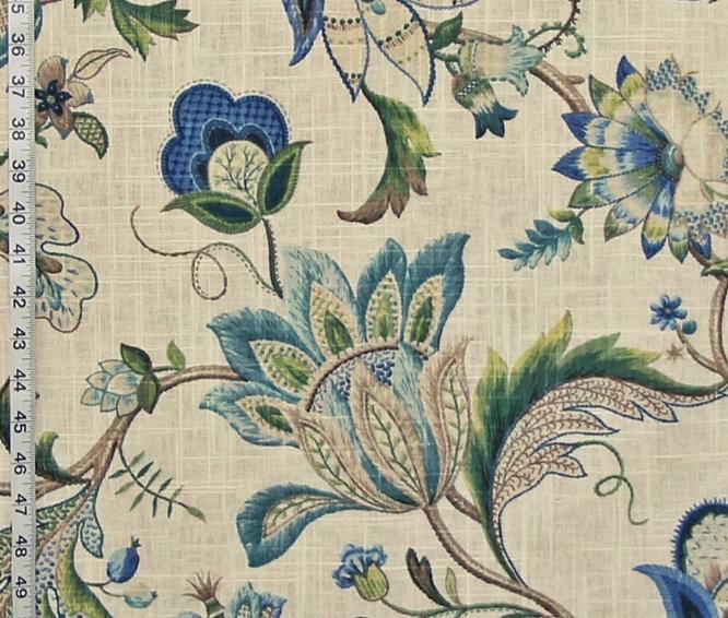 Innne Jacobean Fabric Colonial Crewel Blue Green Linen