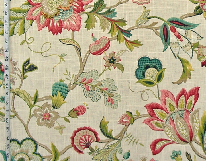 Indienne Jacobean fabric colonial crewel raspberry pink teal blue ...