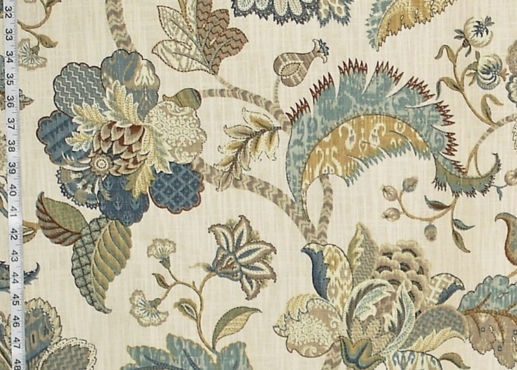 Indienne fabric Jacobean floral blue gold taupe baronial from Brick ...