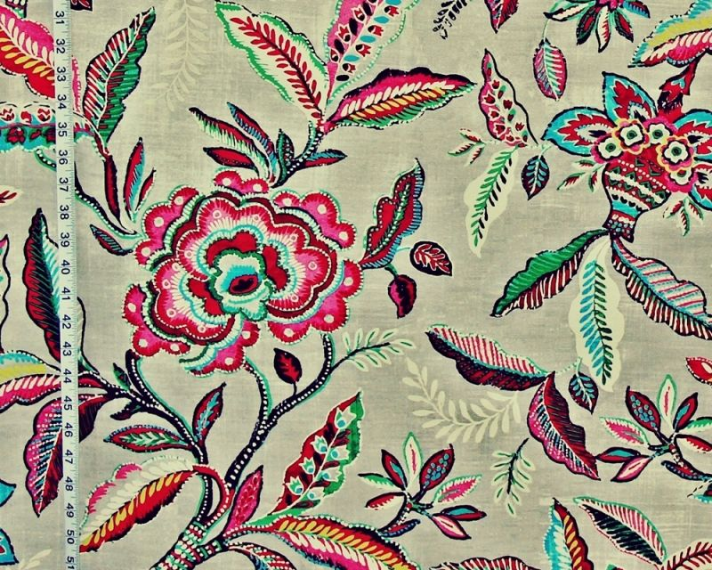 Pink Green Indienne Floral Fabric