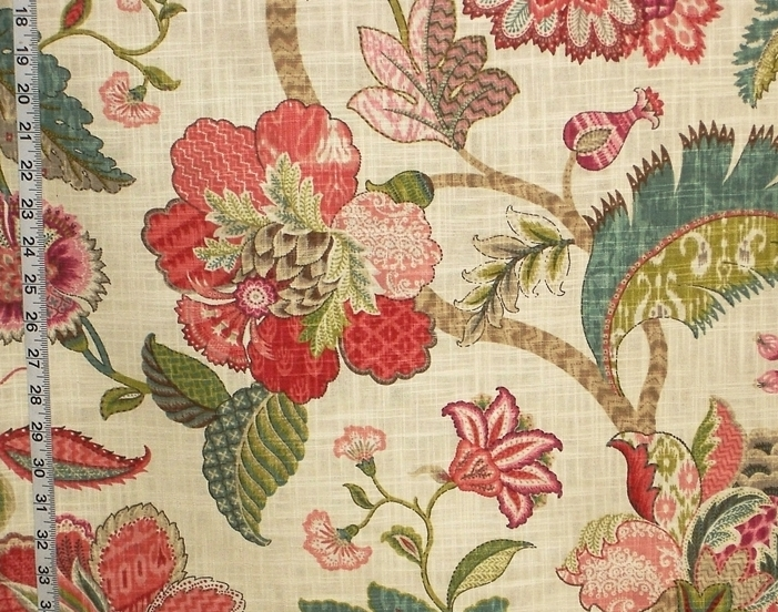 RASPBERRY RED INDIENNE FLORAL FABRIC