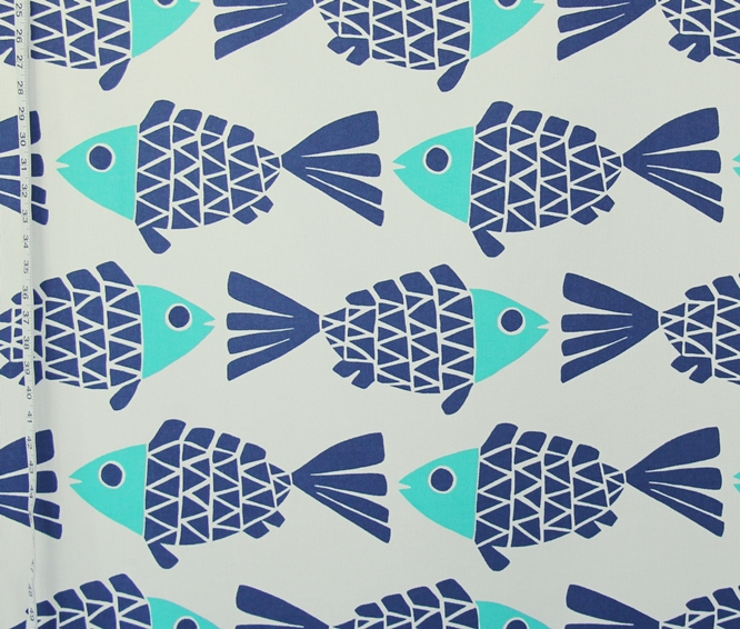 Indoor Outdoor Fabric Fish Blue Aqua Turquoise