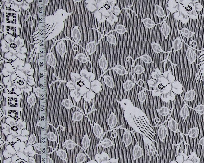 Bird rose lace curtain fabric