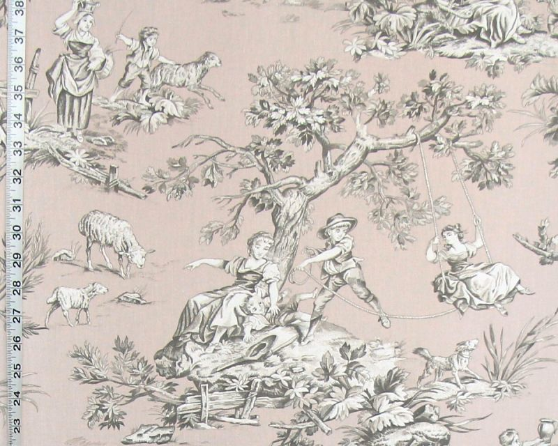 MAUVE PINK COUNTRY TOILE FABRIC