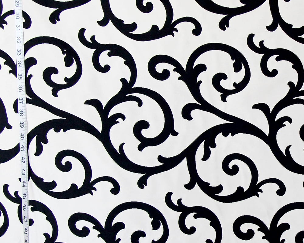 Black White Scrolling Fabric Reversible Upholstery Mb M9722 Domino