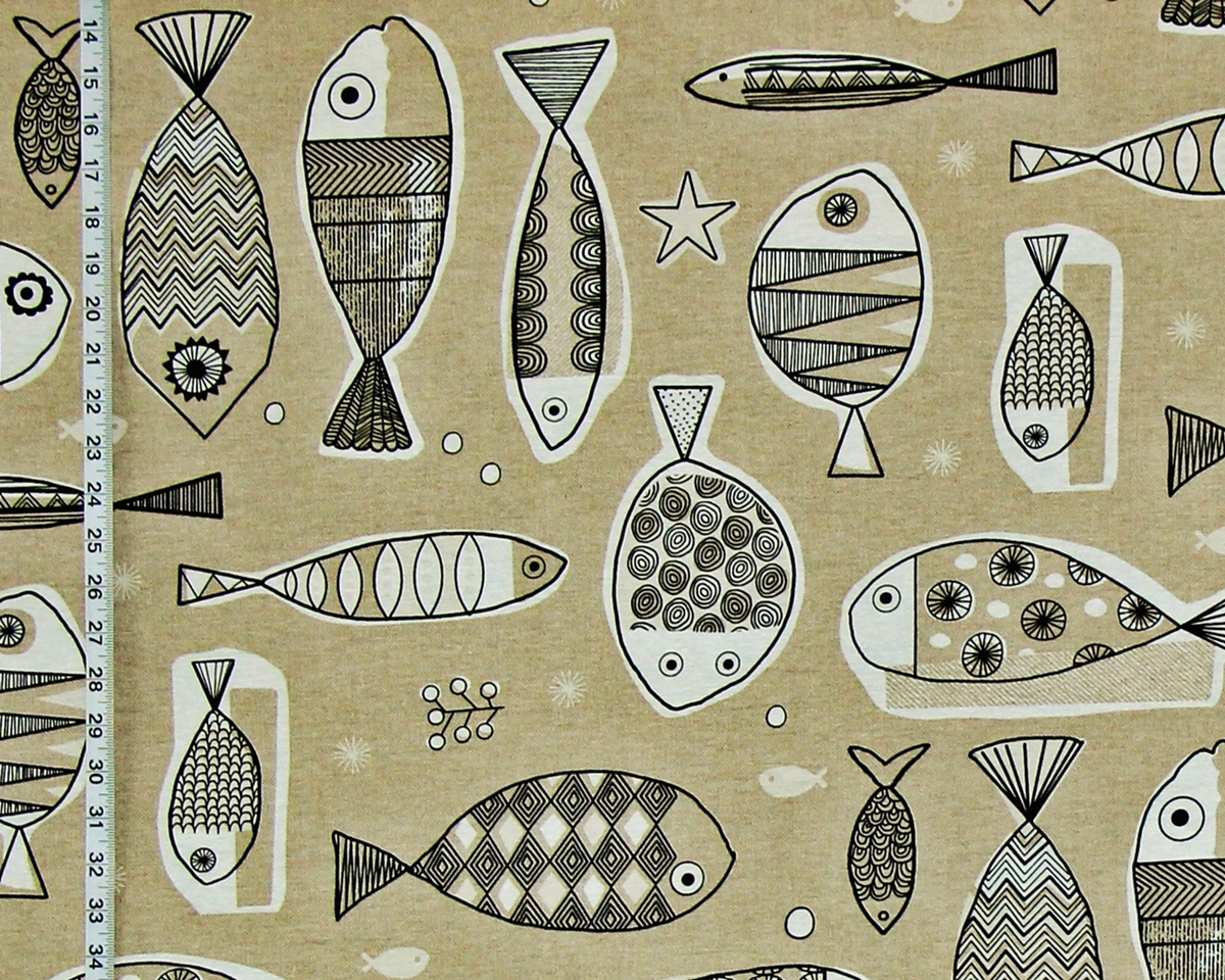 MID-CENTURY BROWN FISH FABRIC