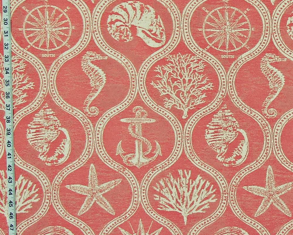 Orange Coral Ocean Fabric