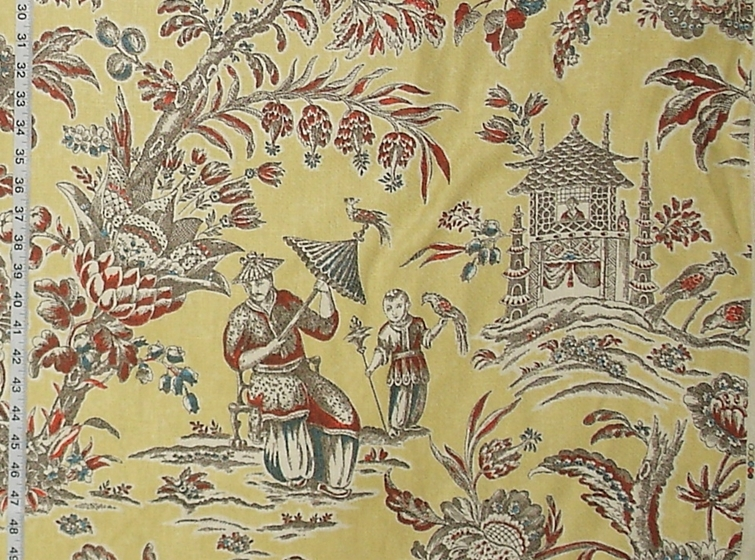 YELLOW CHINOISERIE ASIAN TOILE FABRIC