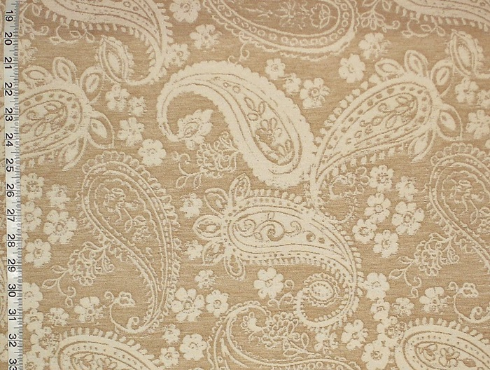 TAN FLORAL PAISLEY FABRIC